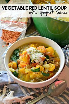 Vegetable Red Lentil Soup with Yogurt Sauce Recipe #StonyfieldBlogger vegetarian