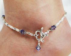 Tobillera, moldeada tobillo pulsera, colgante de Corazón de Cierre frontal, Tanzanita Swarovski personalizable Púrpura Cristalina Playa Vacaciones boda de San Valentín