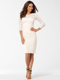 THE WHITE ROOM | Ivory Textured Illusion Dress | Caché