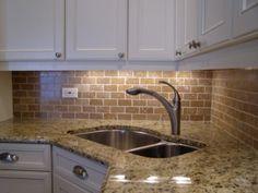 Kitchen Backsplash Brick Look backsplash with dark cabinets | brick backsplash dark cabinets
