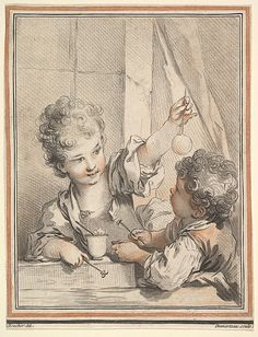 Blowing Bubbles, etching by Gilles Demarteau Williamsburg Christmas, Victorian Toys, Blowing Bubbles, India Art, Antique Prints, French Art, Caricature, Paris, 18th Century