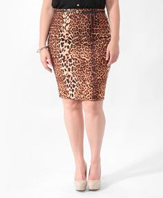 Leopard Pencil Skirt | FOREVER21 PLUS - 2011409924