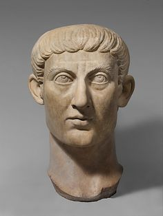 Marble portrait head of the Emperor Constantine I,late  Imperial Constantinian  period,ca AD 325-370  Marble.  Metropolitan Museum