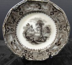 "Antique John Alcock Mulberry 8 1/4"" Plate * Vincennes Pattern 