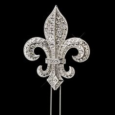 Crystal Covered Fleur de Lis  Cake Topper - for New Orleans, Mardi Gras, Royal theme parties and receptions- Affordable Elegance Bridal -