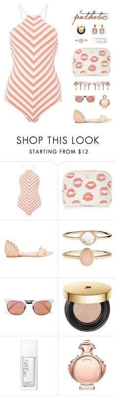 """""""""""Loneliness becomes the acid that eats away at you."""" - Haruki Murakami, 1Q84"""" by are-you-with-me ❤ liked on Polyvore featuring Seafolly, Charlotte Tilbury, Loeffler Randall, Accessorize, Westward Leaning, Lancôme, NARS Cosmetics, Paco Rabanne and Oscar de la Renta"""