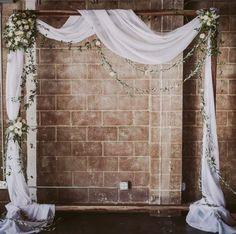 Via Smoky Hollow Studios Chic white drapery wedding ceremony decor; Via Smoky Hollow Studios Wedding Ceremony Ideas, Wedding Arch Rustic, Wedding Table, Wedding Church, Wedding Arches, Wedding Backdrops, Wedding Flowers, Decor Wedding, Wedding Dress