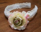 Gorgeous White, Pink, and Green Multi-Colored Rose Headband covered in Lace and Ribbon.