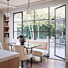 Have you seen the latest interior design trend of gorgeous, black steel windows and doors? I've decided it can work in both modern or traditional settings. Steel Windows, Windows And Doors, Black Windows, Big Windows, Modern Windows, Wall Of Windows, Home Windows, Kitchen Windows, Dining Room Windows