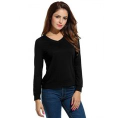 V-Neck Long Sleeve Classic Solid Tee T-Shirt Tops
