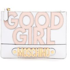 Moschino Good Girl Clutch - White (6,500 MXN) ❤ liked on Polyvore featuring bags, handbags, clutches, purses, accessories, genuine leather purse, white leather pouch, moschino handbag, white handbags and white clutches