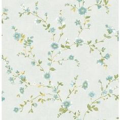 Brewster Wallcovering Light Blue Classic Floral Wallpaper 2657-22248
