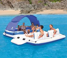Inflatable Floating Island 6 Person Lounge Boat Lake Pool Party Raft Water Float for sale online Floating Island Raft, Inflatable Floating Island, Floating Cooler, Floating In Water, Floating Chair, Floating Lounge, Floating Dock, Pool Floats For Adults, Cool Pool Floats