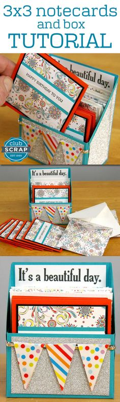 Be ready with gift notecards for any occasion! Full tutorial here: http://clubscrap.com/3x3-notecards-and-box-tutorial/