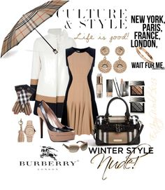 """""""Culture & Style: Burberry Nude/Winter Style"""" by enjoyzworld ❤ liked on Polyvore"""