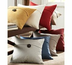 """Perfect neutral pillow to """"ground"""" the rest of the couch throw pillows. Textured Linen Pillow Cover #potterybarn"""