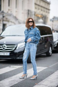 Christine Centenera seen wesaring a deni jeans top and pant and shoes from Balenciaga in the streets of Paris during the Paris Fashion Week on...