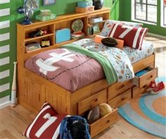 Honey Twin size Bookcase Captains Day Bed 2122 | Children's captain Day beds with 6 drawers or three drawers and trundle