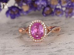 Pink Sapphire Engagement Ring Criss Cross Ring 6x8mm Oval Cut Pink Sapphire Diamond Ring Twist Band In 14K Rose Gold - Wedding and engagement rings (*Amazon Partner-Link)