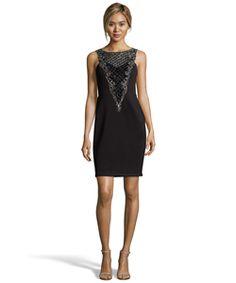 Sue Wong Black Neoprene Beaded Sleeveless Cocktail Dress