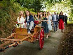 vintage wedding cart.  Welsh Yurt Weddings at Fron Farm Yurt Retreat. An unusual and unique wedding venue in West Wales.