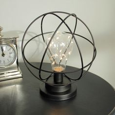 Atom Light Bulb LED Lamp Made From Metal In Black This Unique Lamp Is  Battery Operated