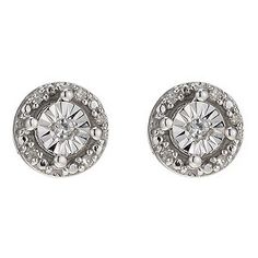 Silver & Diamond Stud Earrings - Product number 8956871