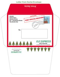 Printable Letter and envelope from Santa