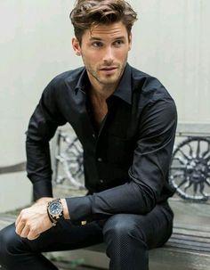 Black dress a pants/trouser, black shirt men's fashion menswear men&ap Gentleman Mode, Gentleman Style, Dapper Gentleman, Sharp Dressed Man, Well Dressed, Stylish Men, Men Casual, Elegant Man, Haircuts For Men