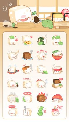 Cubie Sticker Pack on Behance Cute Kawaii Drawings, Cute Animal Drawings, Kawaii Art, Pretty Art, Cute Art, Homemade Stickers, Note Doodles, Animal Doodles, Kawaii Illustration