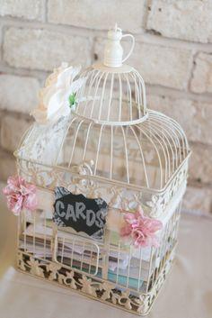 Bird Cage Card Holder Blush Pink, Ivory & Grey Summer Wedding  Photo by: Alison Kundratic Photography