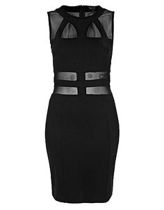 Top Shop Mesh And Bandage Bodycon Dress