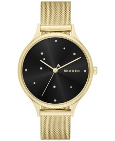 Skagen Women's Anita Gold-Tone Mesh Bracelet Watch 34mm SKW2385