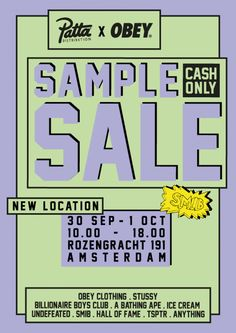 Patta Distribution & Obey fw'16 Sample Sale -- Amsterdam -- 30/09-01/10