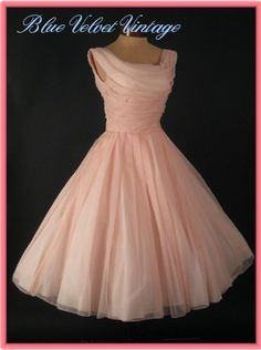 pink 50s style wedding dress | 50s Special Occasion Dress-Pink Chiffon Vintage Prom-Wedding Dress-50 ...