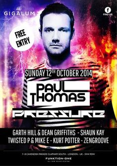 Paul Thomas. Paul's big break was landing a residency at Birmingham's Godkitchen and their globally-syndicated GlobalGathering festivals a decade back; a dream foundation for any aspiring DJ to build their career on. Price: Free. Artists: Paul Thomas. Category: Bars, Pubs and Bars. Date and Time: On Sunday October 12, 2014 at 3:00 pm - 11:00 pm. Venue Details: Gigalum, 7-8 Cavendish Parade, London, SW4 9DW, UK