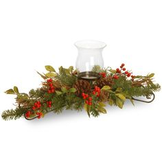 """National Tree Company 30"""" Decorative Collection Berry Leaf Centerpiece"""