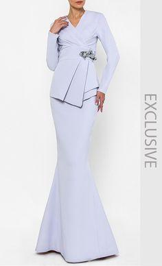 KEBAYA LANGKAWI IN LAVENDER Muslim Fashion, Modest Fashion, Hijab Fashion, Fashion Dresses, Gaun Dress, Batik Fashion, Satin Dresses, Designer Dresses, Hijab Bride