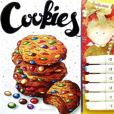 Еда Cookie Drawing, Food Drawing, Copic Marker Drawings, Sketch Markers, Colorful Drawings, Cute Drawings, Kristina Webb Drawings, Food Artists, Sketchbook Inspiration
