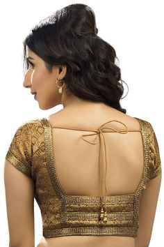 #Bronze & #gold festive wear banarasi #divine blouse with u neck -BL697 Saree Blouse Designs, Blouse Patterns, Sewing Patterns, Simple Sarees, Festival Wear, Indian Sarees, Trending Outfits, Indian Style, Indian Fashion