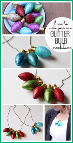 so cute!!  here's how to make your own Glitter Christmas Light Bulb Necklace - i love this!  ---Sugar Bee Crafts