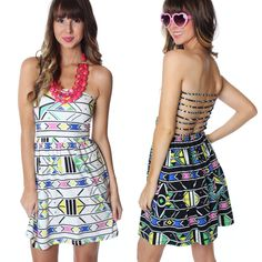 """The perfect summer dress! Head to the beach or a pool party this summer in this adorable multi strap back dress!  Shop the """"Print Pop Dress"""" for only $34.99 online at www.sophieandtrey.com in white and black and in store at #4thandocean!!! #sophieandtrey #newarrivals #printed #summer #dress"""