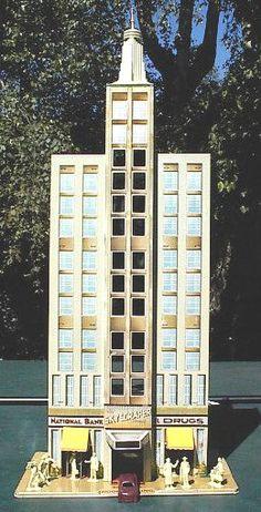 Marx Tin-Litho Skyscraper, c. Vintage Dollhouse, Modern Dollhouse, Vintage Tins, Vintage Dolls, Tin House, Metal Toys, Museum, Miniature Houses, Toy Soldiers