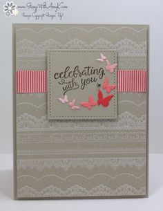 I used the Stampin' Up! Falling For You and Delicate Details stamp sets to create a celebration card to share with you today. My card design was inspired by Global Design Project GDP072. I st…