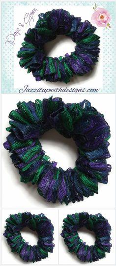 Purple Green metallic #scrunchie ponytail holder soft ribbon yarn   @JazzitupwithDes #indiemade http://jazzitupwithdesigns.indiemade.com/product/ruffle-ponytail-holder-scrunchy-purple-green-metallic-ribbon-yarn