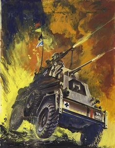 "The original art used for the cover of War Picture Library #22 ""The Invisible Enemy"" published July 1959. A British Scout car with guns blazing during WW2. DeGaspari painted some of the most iconic and finest war covers ever painted for this series of comics."