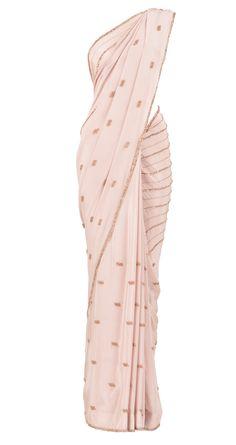 Pale pink sari with pale pink nalki and bead work by Priyal Prakash. Shop at https://www.perniaspopupshop.com/whats-new/priyal-prakash-2