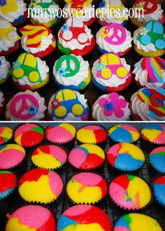 tie dye cake batter for these cupcakes Fondant Cakes, Cupcake Cakes, Cupcakes, Fun Food, Love Food, Peace Sign Cakes, 10th Birthday, Birthday Cake, Yummy Treats