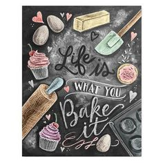 Kitchen Decor - Kitchen Chalkboard Art - Gift for the Baker - Baking Art - Kitchen Art - Illustration Print - For the Bakery - Bakery Art - Cute chalkboard art print for a Shabby Chic kitchen! Kitchen Prints, Kitchen Art, Cupcake Kitchen Decor, Decorating Kitchen, Bakers Kitchen, Kitchen Quotes, Decorating Ideas, Kitchen Ideas, Kitchen Tools
