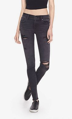 Black Distressed Mid Rise Jean Legging | Express